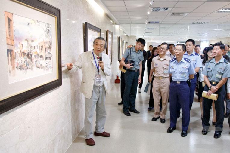 博愛藝廊陳陽春水彩畫展開幕 豐富官兵藝文涵養